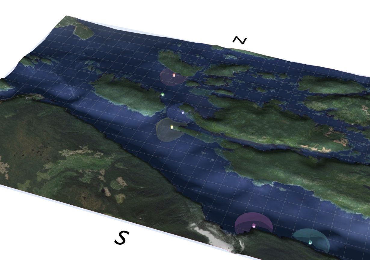 Play here with SABIOD 3D interface that represents Orcalab area (West Canada) and follow the Orca by their song (data is property of Orcalab).